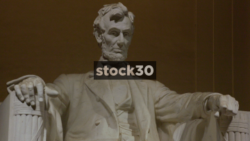 Close Up And Wide Shots Of Abraham Lincoln Statue At Lincoln Memorial, Washington DC