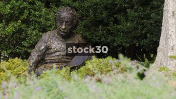 Two Close Up Shots Of Albert Einstein Memorial In Washington DC, USA