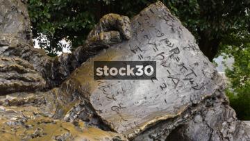 Close Up Detail On Albert Einstein Memorial In Washington DC, USA