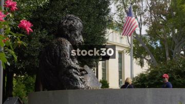 Albert Einstein Memorial And Tourists In Washington DC, USA