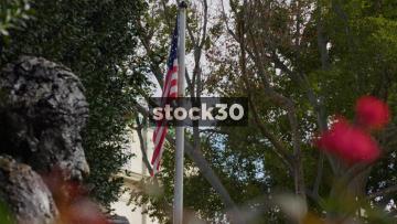 US Flag At The Albert Einstein Memorial In Washington DC, USA