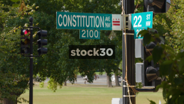 Constitution Ave NW Road Sign In Washington DC, USA