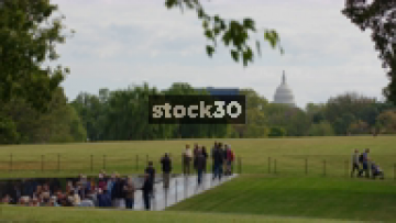The Capitol Building In Washington DC Viewed From Vietnam Veterans Memorial, USA