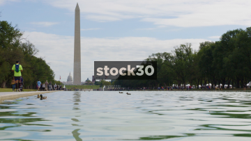 The Reflecting Pool, Washington Monument And Capitol Building In Washington DC, USA