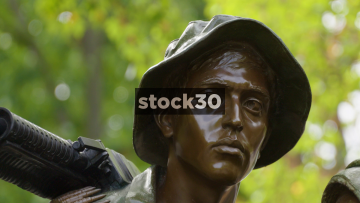 3 Close Up Shots Of Soldiers Faces At Vietnam Veterans Memorial In Washington DC, USA