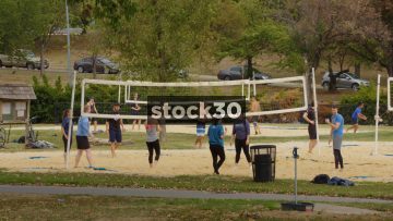People Playing Beach Volleyball In Washington DC, USA