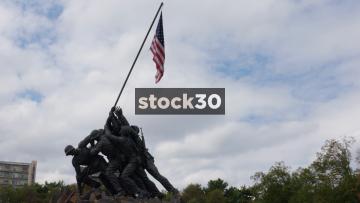 US Marine Corps War Memorial In Washington DC, Panning Shot, USA