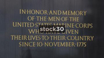 Close Ups Of Inscriptions On US Marine Corps War Memorial In Washington DC, USA