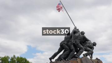 Panning Shot Of US Marine Corps War Memorial In Washington DC, USA