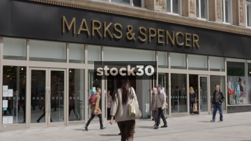 Slow Motion Shot Of Marks And Spencer On Church Street In Liverpool, UK