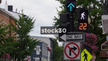 Pedestrian Crossing Lights In Georgetown, Washington DC, USA