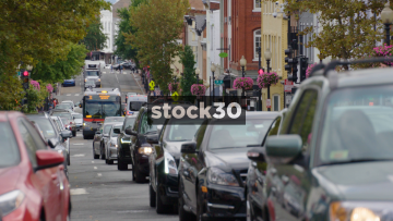 Traffic Passing By On Street In Georgetown, Washington DC, USA