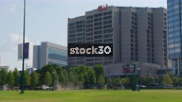 Wide Shot And Close Up Of CNN Headquarters In Atlanta, Georgia, USA