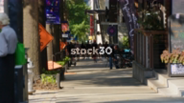 Sidewalk In Atlanta, Georgia With Pedestrians, USA