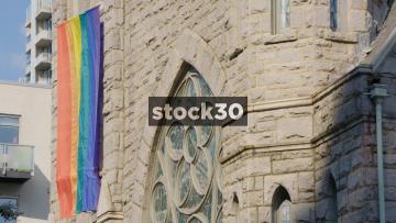 LGBTQ Rainbow Flag On Saint Mark Church In Atlanta, Georgia, USA