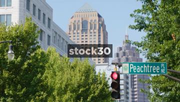 Street Sign And Traffic Lights On Peachtree PL NE In Atlanta, Georgia, USA