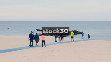 People On Coney Island Beach, Brooklyn, New York, USA