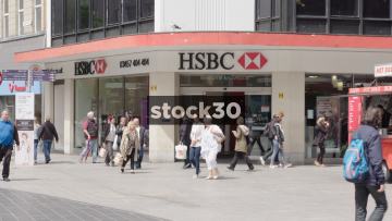 Slow Motion Shot Of HSBC On Church Street In Liverpool, UK