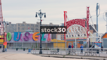 Fairground Attractions And Boardwalk At Coney Island, Brooklyn, New York, USA