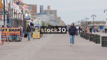 Riegelmann Boardwalk At Coney Island, Brooklyn, New York, USA