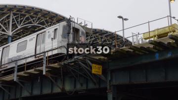Train Departing From Stilwell Avenue Station In Coney Island, Brooklyn, New York, USA