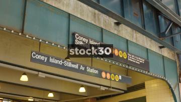 3 Dynamic Shots Of Signage At Coney Island Stilwell Avenue Station, Brooklyn, New York, USA