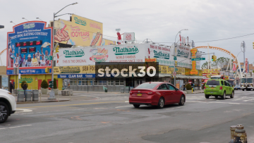 Nathans Hot Dogs On Stilwell Avenue In Coney Island, Brooklyn, New York, USA