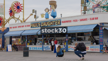 Fast Food Stall In Coney Island, Brooklyn, New York, USA