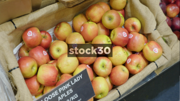 Pink Lady Apples Display In Greengrocers