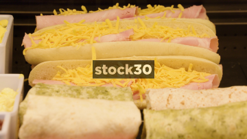 Sandwiches, Wraps And Fillings In Deli Counter