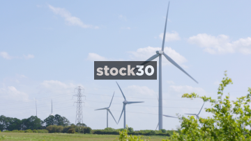 Several Wind Turbines In Countryside, UK