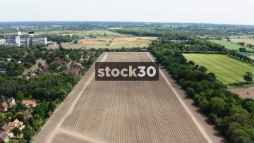 Drone Shot Of Large Farm Field, UK