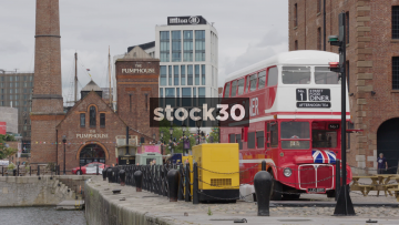 Street Food Diner London Bus And The Pumphouse At The Albert Dock In Liverpool, UK