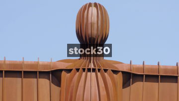 The Angel Of The North Sculpture In Gateshead, Extreme Close Up Followed By Wider Panning Shot, UK