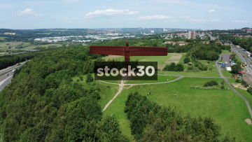 Slow Drone Flyover Shot Of The Angel Of The North Sculpture In Gateshead, UK