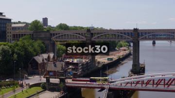 Panning Shot Of High Level Bridge Over River Tyne In Newcastle Upon Tyne, UK