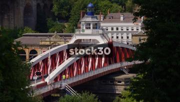 Close Up Shot Of Bridge Street Swing Bridge In Newcastle Upon Tyne, UK