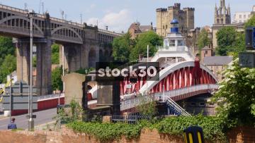 The Bridge Street Swing Bridge In Newcastle Upon Tyne With Traffic And People Crossing, UK
