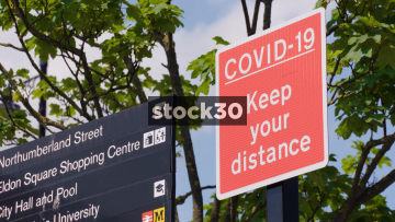 COVID-19 Keep Your Distance Signage In Newcastle Upon Tyne Town Centre, UK