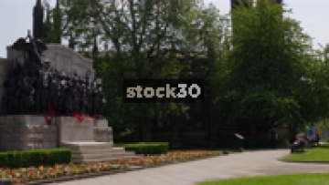 Wide Shot Of Northumberland Fusiliers Memorial By Church Of St Thomas In Newcastle Upon Tyne, UK