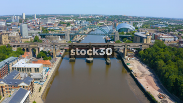 Drone Shot Of The River Tyne In Newcastle Including High Level, Tyne And Millenium Bridges, UK