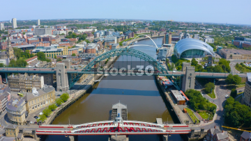 Drone Shot Over Tyne Bridge In Newcastle Upon Tyne, UK