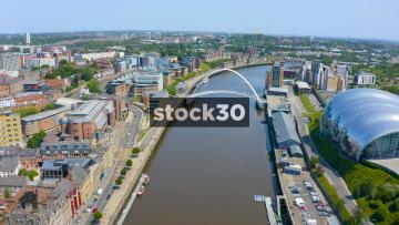 Drone Shot Flying Backwards Over The Tyne Bridge In Newcastle Upon Tyne, UK