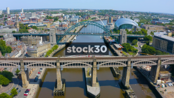 Drone Shot Over The Tyne Bridge In Newcastle, With Tilt Down, UK
