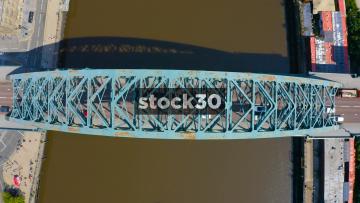 Rotating Overhead Drone Shot Of The Tyne Bridge In Newcastle Upon Tyne, UK
