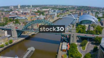 Rotating Drone Shot Of The Tyne Bridge In Newcastle Upon Tyne, UK