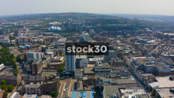 Drone Shot Over Newcastle Upon Tyne City Centre, UK