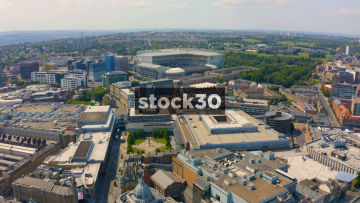 Drone Shot Flying Towards St James' Park Football Statium In Newcastle Upon Tyne, UK