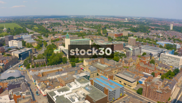 Drone Shot Over Newcastle Upon Tyne, Including City Council Building, UK