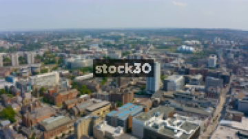 Drone Shot Over Newcastle City Centre With Various Buildings And Landmarks Visible, UK